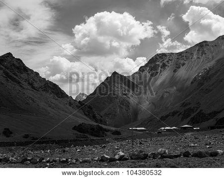 Black And White Photo Graphy Of Mountain Range