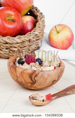 Healthy Bowl Of Muesli, Apple, Fruit And Milk For A Nutritious Breakfast With A Low Glycemic Index E