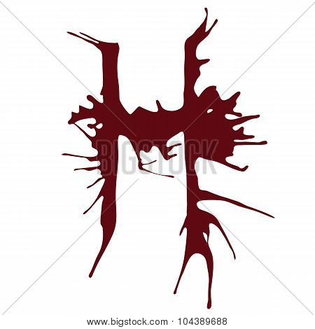 Dripping blood ink fonts the letter H.