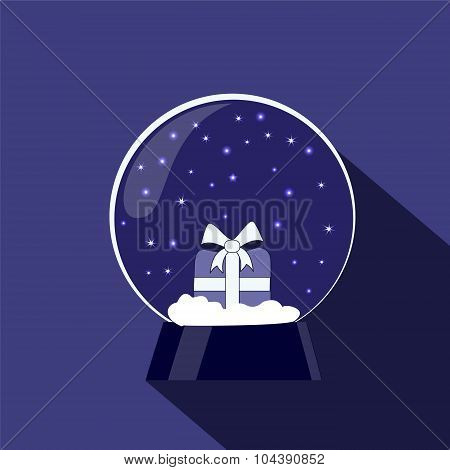 Snow Globe With Gift. Christmas Decoration. Stock Vector Illustration