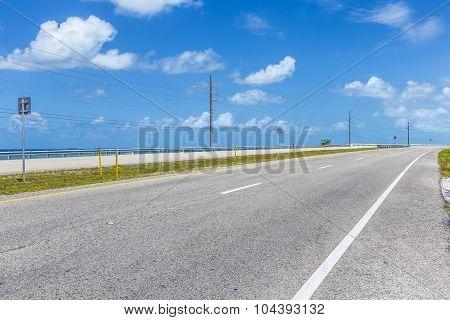 Empty Seven Mile Bridge In The Keys Near Key West
