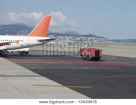 Fire Tender By Aircraft. Nice. France