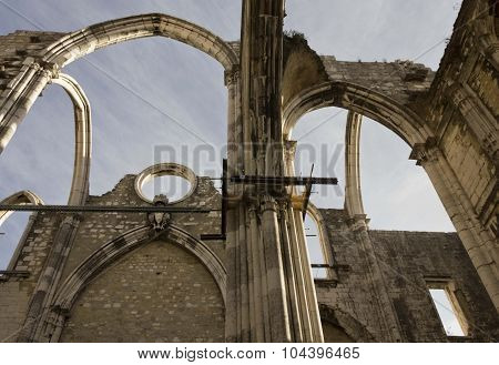 Looking Up At The Damaged Roof Of Carmo Convent