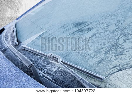 Frozen Front Windshield Of Car