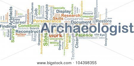 Background concept wordcloud illustration of archeologist