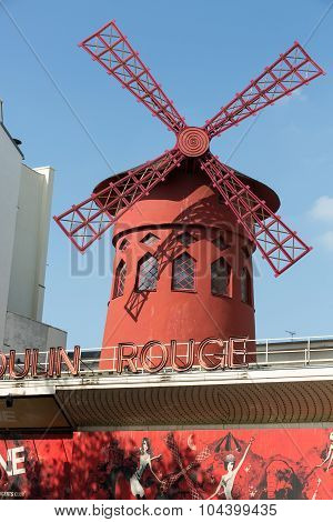 The Moulin Rouge in Paris France. Moulin Rouge is the most famous Parisian cabaret and it created the modern can-can dance.