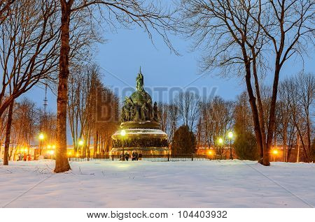 VELIKY NOVGOROD, RUSSIA - JANUARY 4, 2013. The monument Millennium of Russia. It was erected in 1862 to celebrate the millennium of Rurik's arrival to Novgorod, an event traditionally taken as a starting point of the history of Russian statehood.