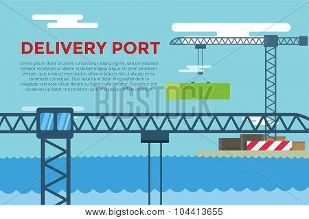 Sea transportation logistic port infographics