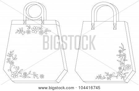 Tags with floral pattern, contours