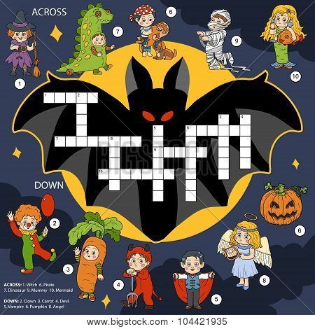 Vector Color Crossword, Education Game About Halloween