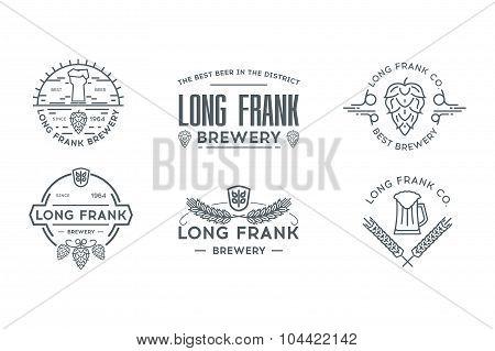 Beer line logo template. Stock vector.