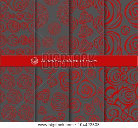 Set Of Seamless Abstract Rose. Floral Slavs Design. Vector Illustration