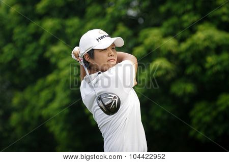KUALA LUMPUR, MALAYSIA - OCTOBER 10, 2015:Japan's Haru Nomura tees off at the sixth hole of the KL Golf & Country Club on Round 3 day at the 2015 Sime Darby LPGA Malaysia golf tournament.
