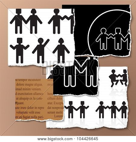 People Holding Hands On The Torn Paper.group Of People. Stock Vector