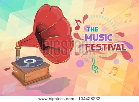 Music background with gramophone and notes