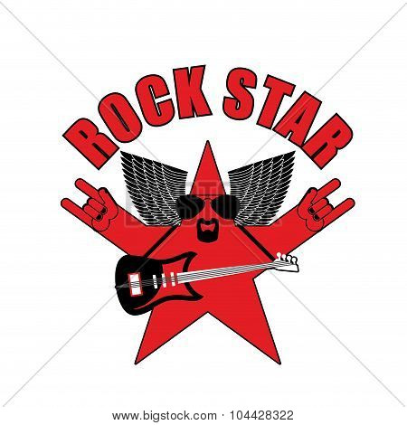 Rock Star Emblem For Club Or Party. Star Music With Guitar And dark glass. Rock Hand Sign. Music Sta