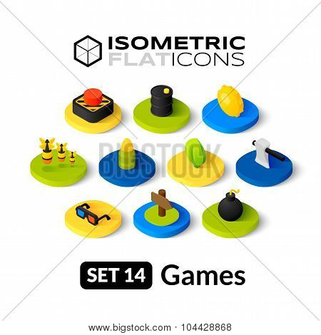 Isometric flat icons set 14