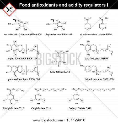Chemical structures of main food antioxidants and acidity regulators, part I, 2d vector, eps 8 poster