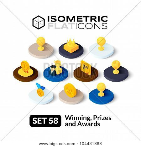 Isometric flat icons set 58