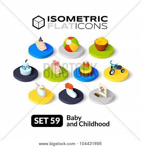 Isometric flat icons set 59