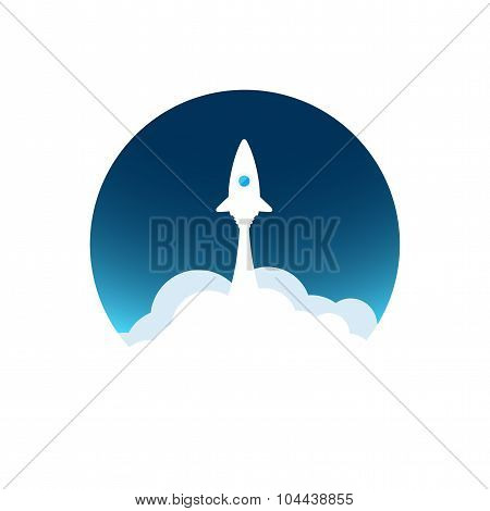 White rocket with cloud and blue sky, circle icon in flat style, vector illustration