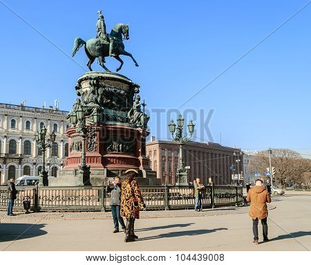 Monument To Emperor Nicholas I On St. Isaacs Square In St. Petersburg