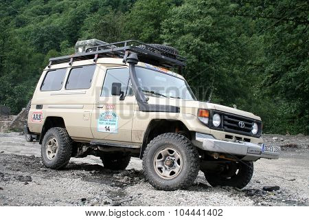 SOCHI, RUSSIA - JULY 20: Member of international off-road expedition Germany-Russia (12 July - 08 August 2009) on July 20, 2009 in Sochi, Russia.