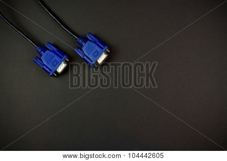 Vga Cable On Black Background