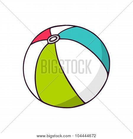 Ball, Bright Vector Children Illustration Isolated On White
