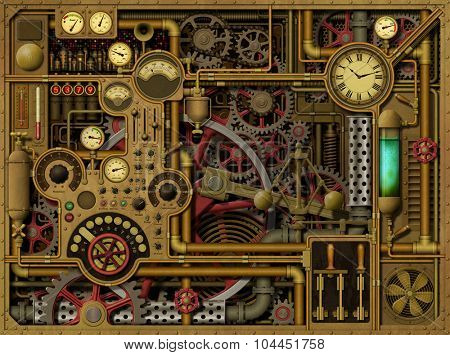 A Steampunk Background with Clocks, Dials, Gears and Cogs, Pipes and Switches.