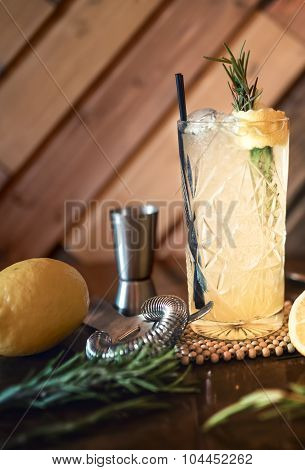 Gin And Tonic Cocktail Drink In Pub, Restaurant Or Nightclub. Refreshment Cocktail Drink Served Cold