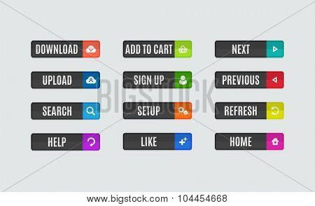 Set of modern flat design website navigation buttons. Rectangle shape. Help like search download upload setup sign up add to cart next previous refresh home icons poster