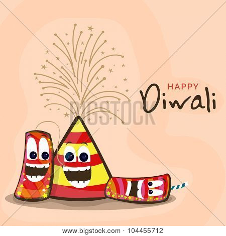 Indian Festival of Lights, Happy Diwali celebration with funny colourful firecrackers.