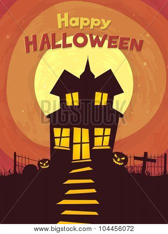 Happy Halloween Party celebration with scary haunted house on horrible night background.