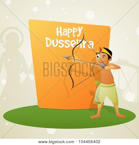 Indian Festival, Happy Dussehra celebration with illustration of cute little boy holding bow and arrow, taking aim towards Ravana for killing.