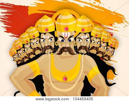 Illustration of engry Ravana with ten heads on paint stroke background for Indian Festival, Happy Dussehra celebration.