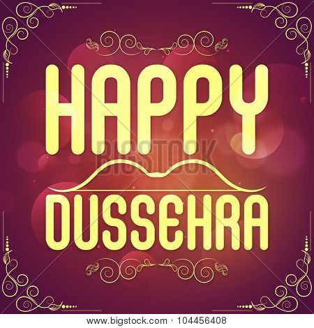 Shiny floral decorated poster, banner or flyer for Indian Festival, Happy Dussehra celebration.