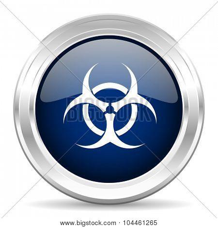 biohazard cirle glossy dark blue web icon on white background