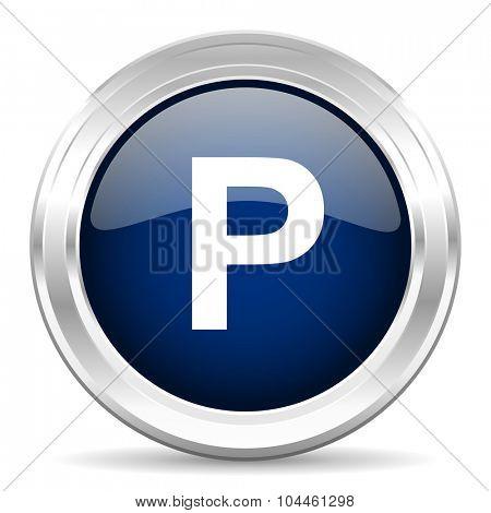 parking cirle glossy dark blue web icon on white background