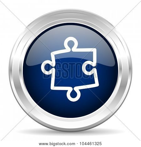 puzzle cirle glossy dark blue web icon on white background