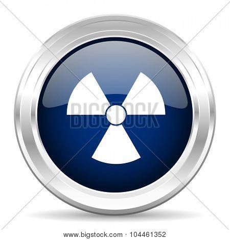 radiation cirle glossy dark blue web icon on white background