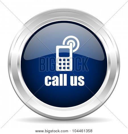 call us cirle glossy dark blue web icon on white background