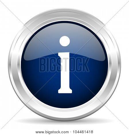 information cirle glossy dark blue web icon on white background