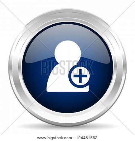 add contact cirle glossy dark blue web icon on white background
