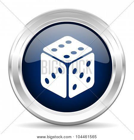 game cirle glossy dark blue web icon on white background