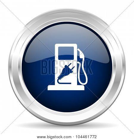 fuel cirle glossy dark blue web icon on white background