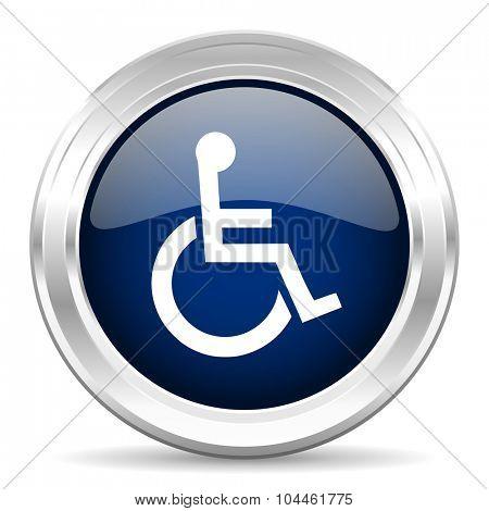 wheelchair cirle glossy dark blue web icon on white background