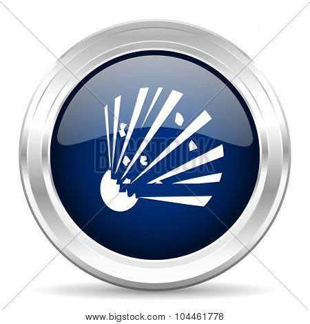 bomb cirle glossy dark blue web icon on white background