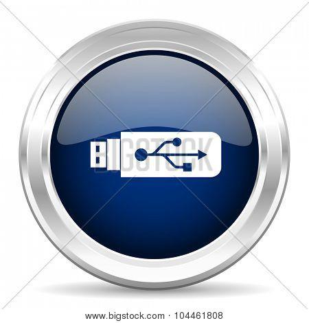 usb cirle glossy dark blue web icon on white background