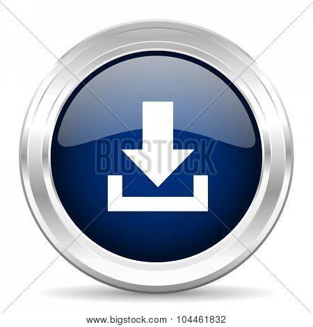download cirle glossy dark blue web icon on white background